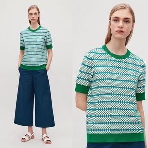 COS Textured Stitch Top in Green